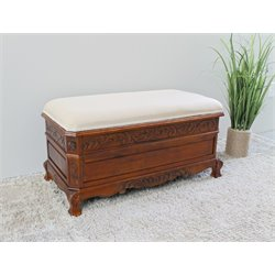 International Caravan Windsor Trunk Bench in Dual Walnut Stain