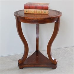 Round Serpentine Table in Dual Walnut Stain