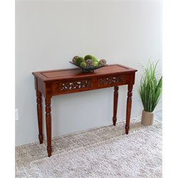 International Caravan Windsor Two Drawer Table in Dual Walnut Stain
