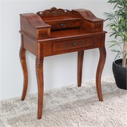 2 Drawer Telephone Accent Table in Dual Walnut Stain