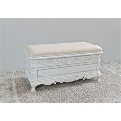 Hand-Carved Antique White Indoor Bench with Trunk