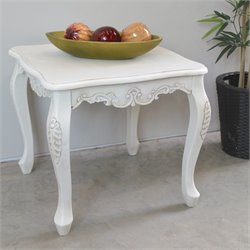 Square Carved Wood End Table in White