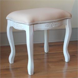 Vanity Stool with Cushion Top in White
