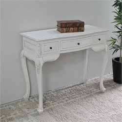 Antique White Hand Carved Vanity Desk