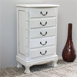 Five Drawer Carved Jewelry Chest in White