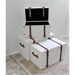 International Caravan Charlotte Set of 3 Fabric Storage Trunk