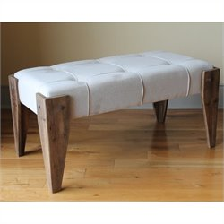 Fabric Vanity Bench with Wood Legs