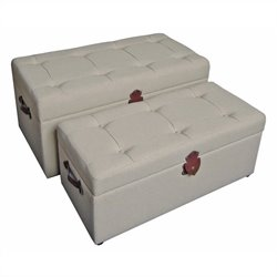 International Caravan Charlotte Set of 2 Tufted Fabric Storage Bench