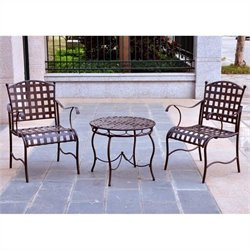 Outdoor 3 Piece Bistro Set in Brown