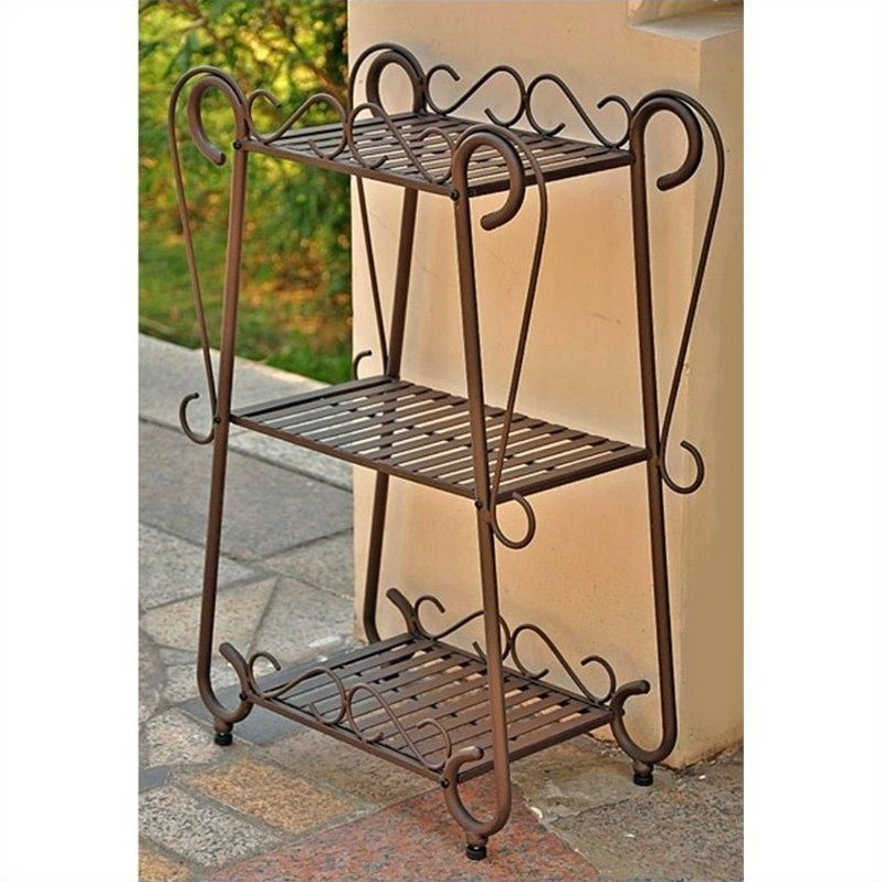 Set 3-Tier Plant Shelf in Rustic Brown