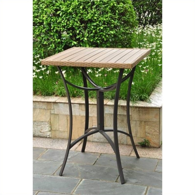 32 quot wicker patio table in antique brown 4215 tbl abn