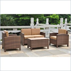 4 PCS Patio Set with Storage in Brown
