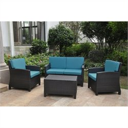 4 Piece Outdoor Patio Settee Set in Antique Black and Aqua Blue