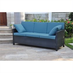 Outdoor Patio Sofa in Antique Black and Aqua Blue