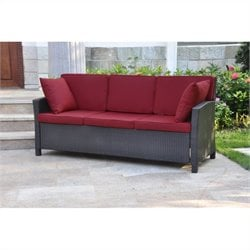 Outdoor Patio Sofa in Chocolate and Merlot