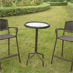 Glass Top Outdoor Patio Pub Table