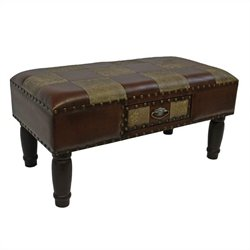 Faux Leather Storage Bench in Mix Pattern