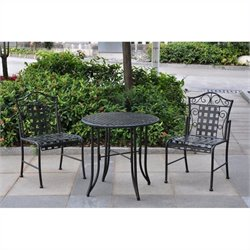Wrought Iron 3 Piece Patio Bistro Set in Antique Black