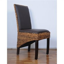 Woven Abaca Dining Chair in Mahogany (Set of 2)