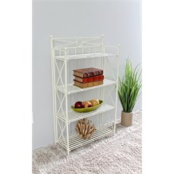 Folding Bakers Rack in White