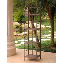 Resin Wicker/Steel 4-Tier Folding Patio Bakers Rack