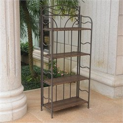 Folding Bakers Rack in Antique Brown