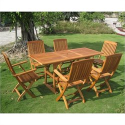 Bascara 7 Piece Wood Patio Dining Set in Natural