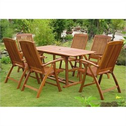 International Caravan Guissona 7 Piece Wood Patio Dining Set