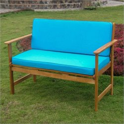 Patio Bench in Natural and Aqua Blue