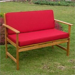 Patio Bench in Natural and Ruby Red