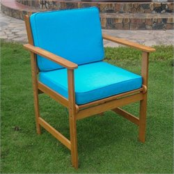 2 Patio Chairs in Natural and Blue