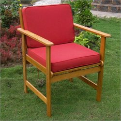 Set of 2 Patio Chair in Natural and Red