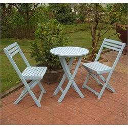 3 Pc Folding Patio Bistro Set in Blue