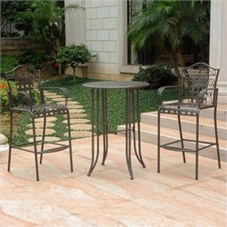 3 Piece Patio Bistro Set in Matte Brown
