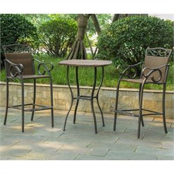 3 Pc Patio Bistro Set in Antique Brown