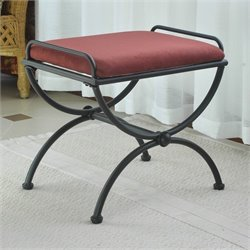 Indoor Iron Vanity Bench in Red Wine