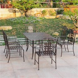 Iron 7 Piece Patio Dining Set in Bronze