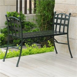 Iron Patio Bench in Verdigris
