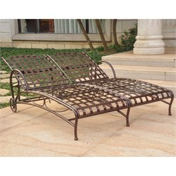 International Caravan Santa Fe Iron Patio Chaise Lounge in Bronze
