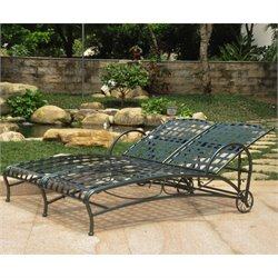 International Caravan Santa Fe Iron Patio Chaise Lounge in Verdigris