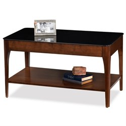 Leick Obsidian Glass Top Coffee Table in Chestnut