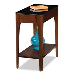 Leick Obsidian Glass Top Narrow End Table in Chestnut