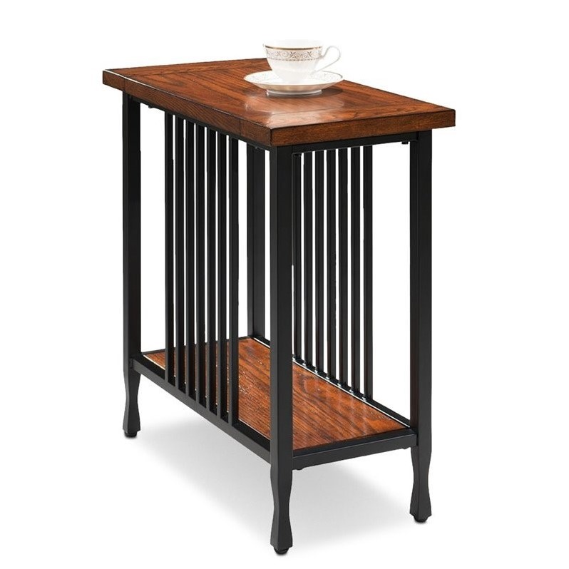 Leick ironcraft narrow end table in burnished oak 11205 for Narrow accent table