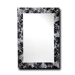 Leick Decorative Feather Silhouette Wall Mirror in Black and White