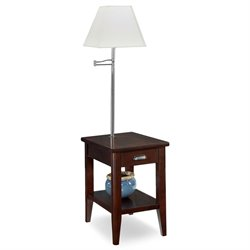 Leick Laurent Collection End Table with Lamp in Chocolate Cherry