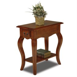 Leick Furniture Chairside End Table in Brown Cherry Finish