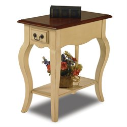 Leick Furniture Chairside End Table in Ivory Finish