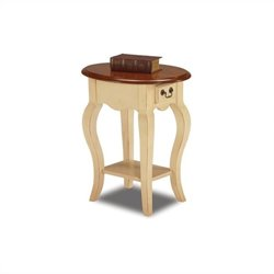 Leick Furniture French Oval End Table in Ivory Finish