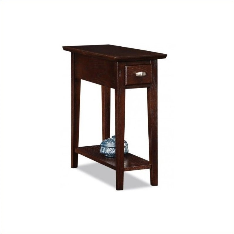 Leick Furniture Chairside-Recliner End Table in a Chocolate Oak Finish