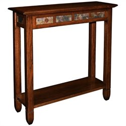 Leick Furniture Rustic Slate Hall Stand in a Rustic Oak Finish